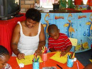 Mom Sheon and Zenande doing creative activities.
