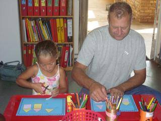 Caitlyn and Dad Shane enjoys the creative activities!